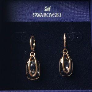 SWAROVSKI Earrings, Grey, Rose-Gold Tone Plated.
